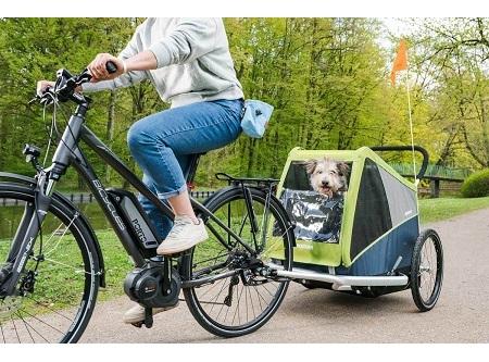 Fietsentrailer Croozer Dog achter fiets